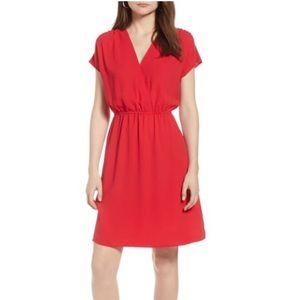 Halogen red faux-wrap dress